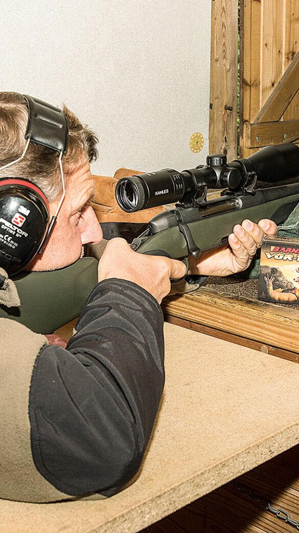 Bleifreie Büchsenmunition Barnes TTSX - Einschießen einer Testwaffe mit dem bleifreien Büchsengeschoss Barnes TTSX - © Martin Grasberger