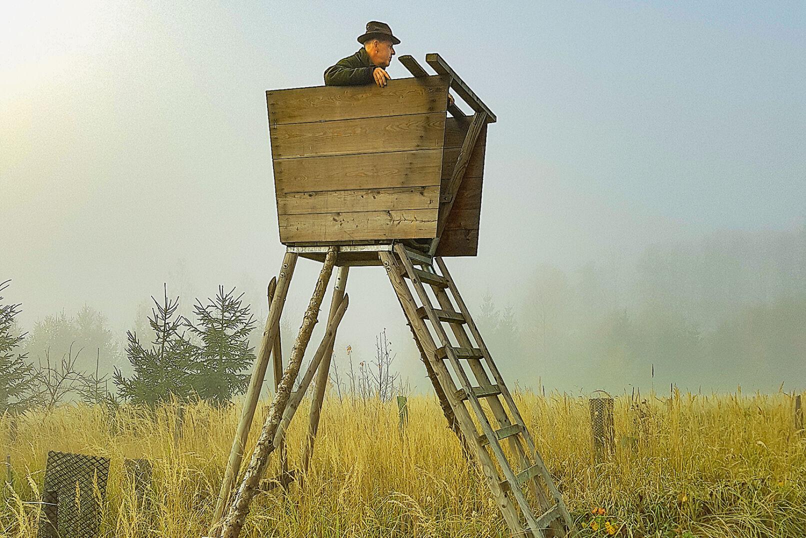 Abgehoben ... - Befinden sich Hochstände nicht vor einer Deckung, zeichnet sich die Kontur des Jägers deutlich gegen den Himmel ab. - © Dominik Steinhauser