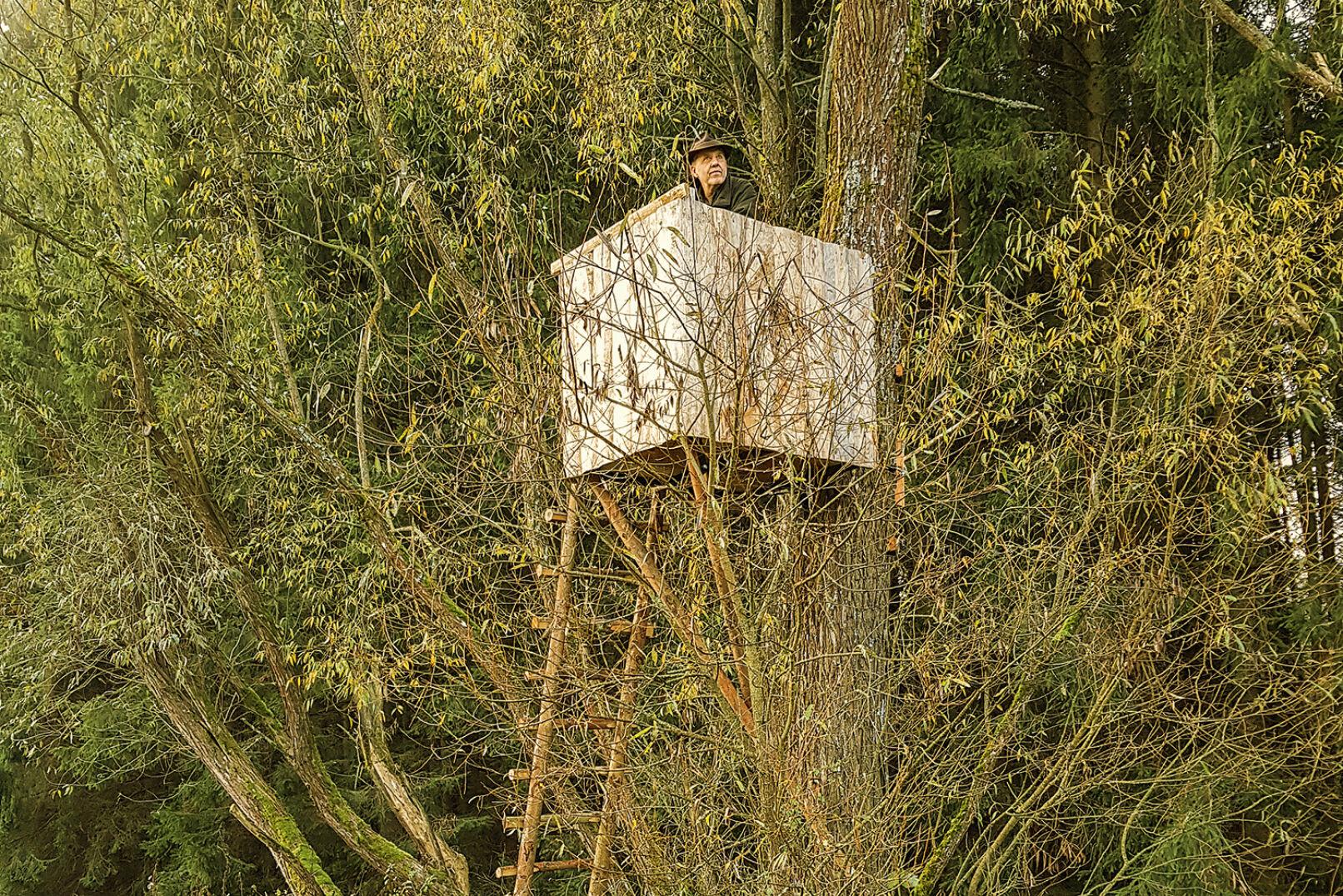 Gute Deckung - Deckung lässt den Jäger förmlich mit dem Hintergrund verschmelzen! - © Dominik Steinhauser