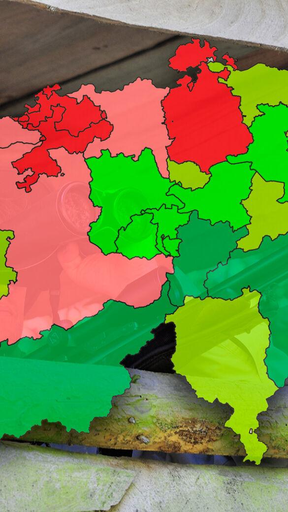 Es zeigt sich ein deutlicher Unterschied zwischen den dichter besiedelten Tallagen (rot) und den weniger dicht besiedelten Bergregionen (grün). - © Karl-Heinz Volkmar