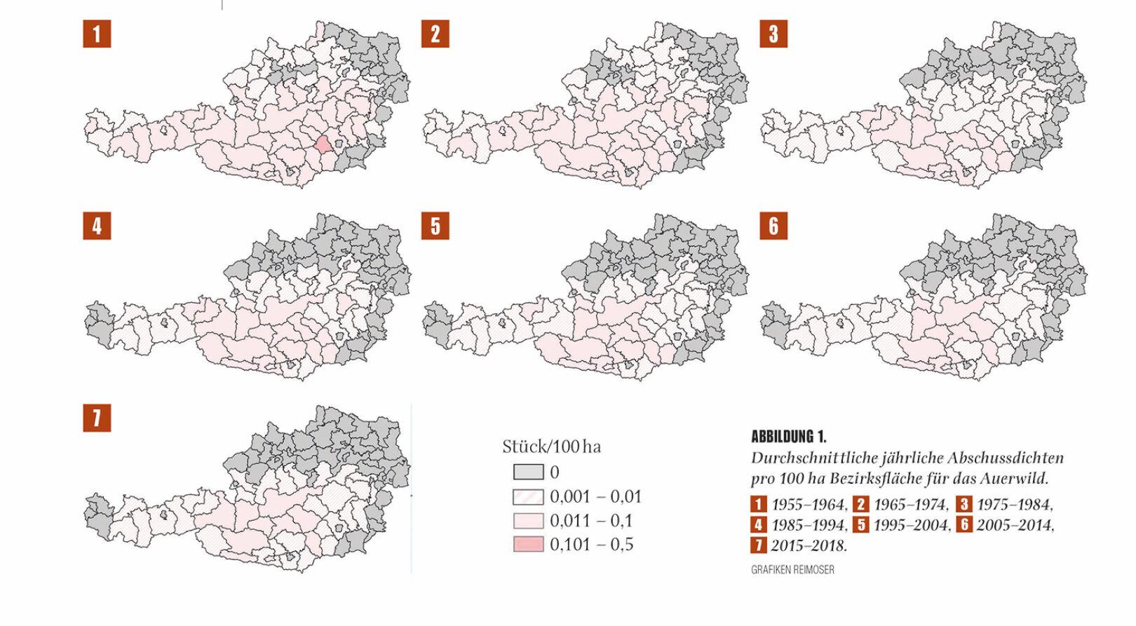 Abbildung 1 - Durchschnittliche jährliche Abschussdichten pro 100 ha Bezirksfläche für das Auerwild. - © Grafik Reimoser
