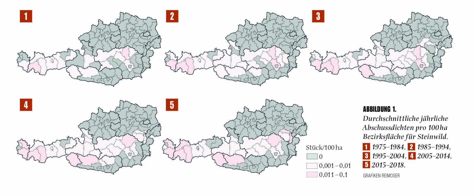 Abbildung 1 - Durchschnittliche jährliche Abschussdichten pro 100 ha Bezirksfläche für Steinwild. - © Grafik Reimoser