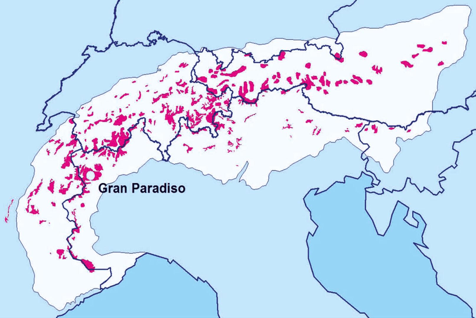 Abbildung 4 - Vorkommensgebietedes Steinwildes im Alpenraum (rote Flächen) sowie Ursprungsort aller heute lebender Steinböcke (Gran Paradiso, Italien). - © Grafik Reimoser
