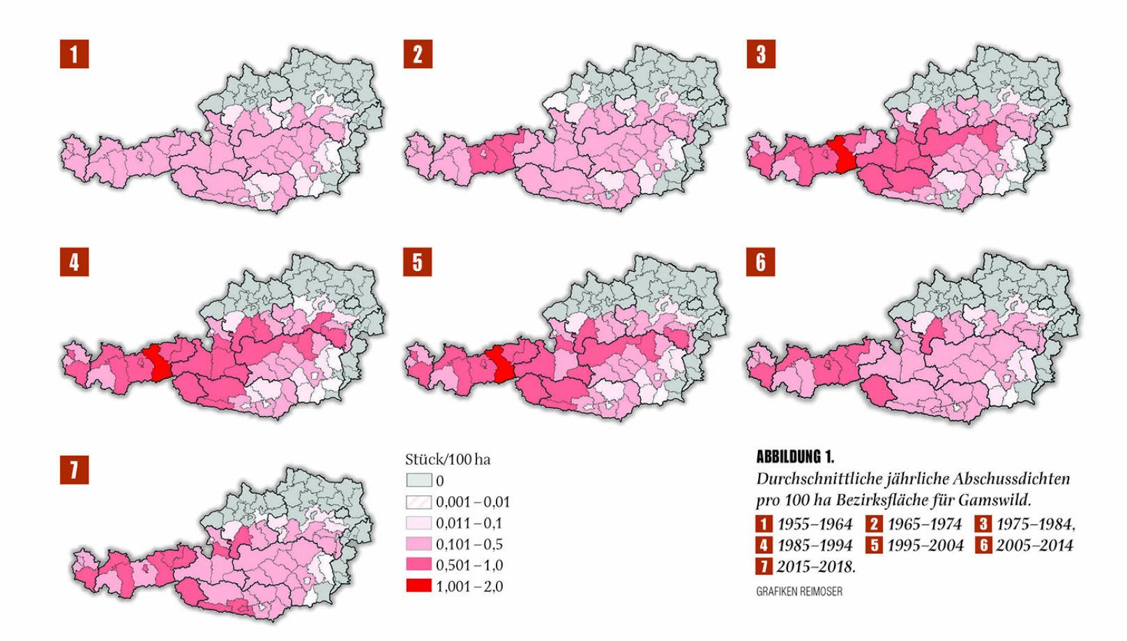 Abbildung 1 - Durchschnittliche jährliche Abschussdichten pro 100 ha Bezirksfläche für Gamswild. - © Grafik Reimoser