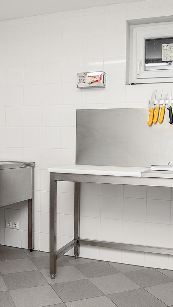 Zerwirktisch und Waschbecken mit Lichtschrankenbedienung - © Martin Grasberger