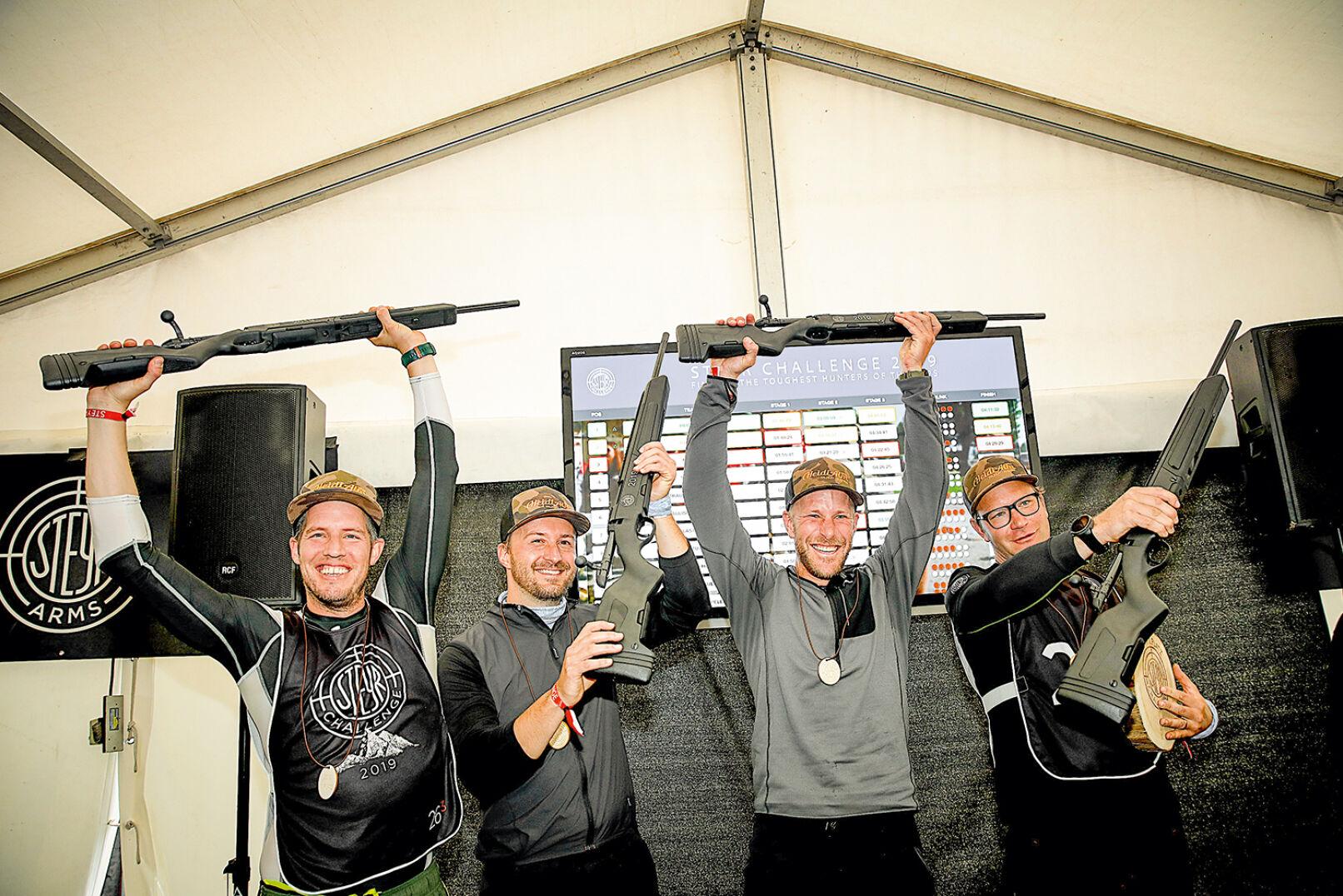 """And the winner is: Team """"Heidi Alm"""" (A). Jedes Mitglied erhält eine Steyr Scout im Kal. .308Win. - © Peter Rigaud"""